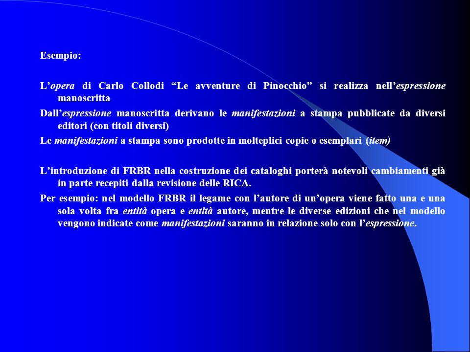 Esempio: L'opera di Carlo Collodi Le avventure di Pinocchio si realizza nell'espressione manoscritta.