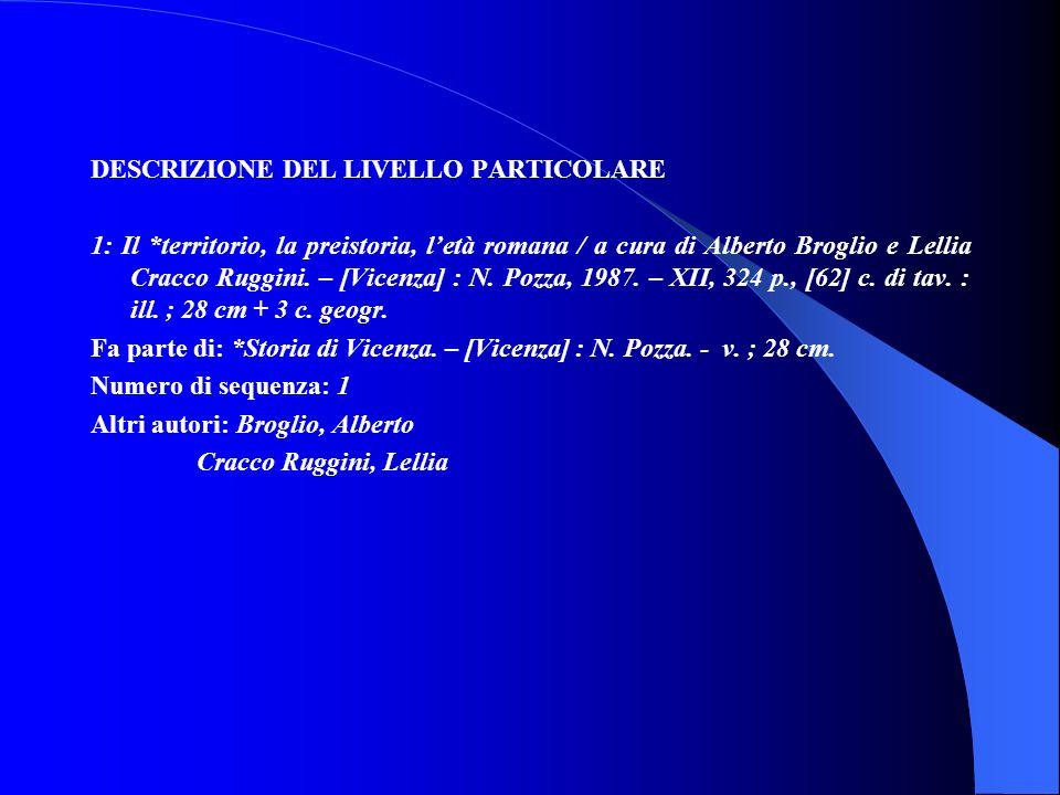 DESCRIZIONE DEL LIVELLO PARTICOLARE 1: Il