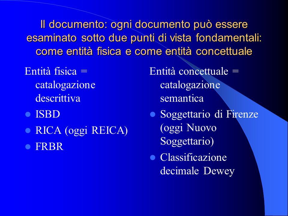 Il documento: ogni documento può essere esaminato sotto due punti di vista fondamentali: come entità fisica e come entità concettuale
