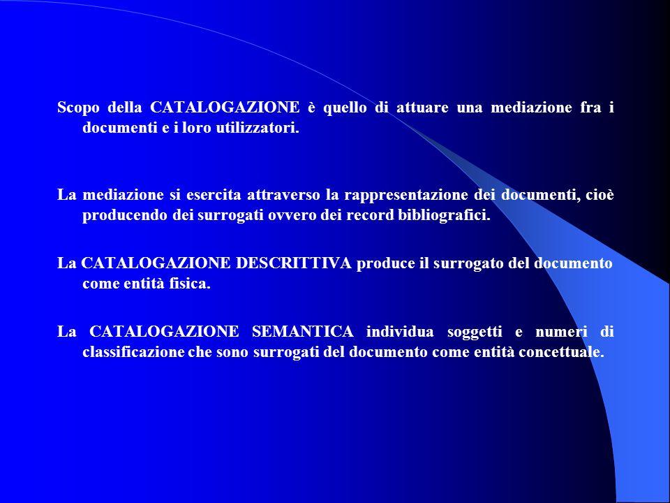 Scopo della CATALOGAZIONE è quello di attuare una mediazione fra i documenti e i loro utilizzatori.