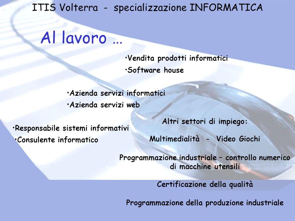 Al lavoro … ITIS Volterra - specializzazione INFORMATICA