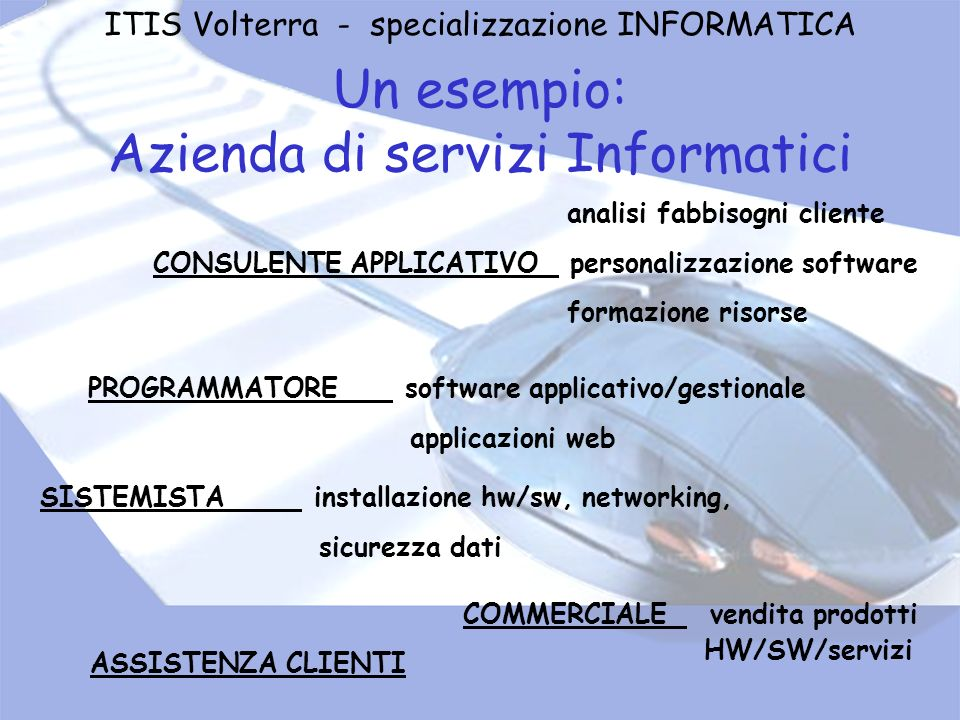 Un esempio: Azienda di servizi Informatici