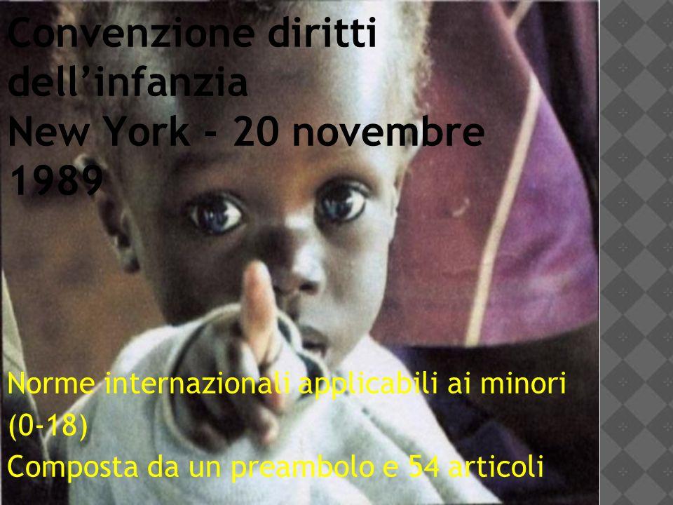 Convenzione diritti dell'infanzia New York - 20 novembre 1989