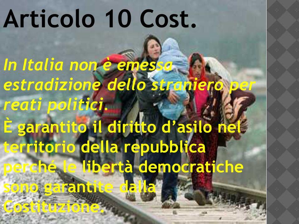 Articolo 10 Cost. In Italia non è emessa estradizione dello straniero per reati politici.