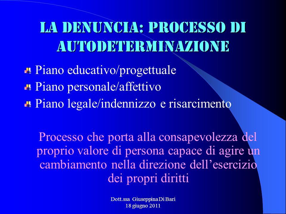 La denuncia: processo di autodeterminazione