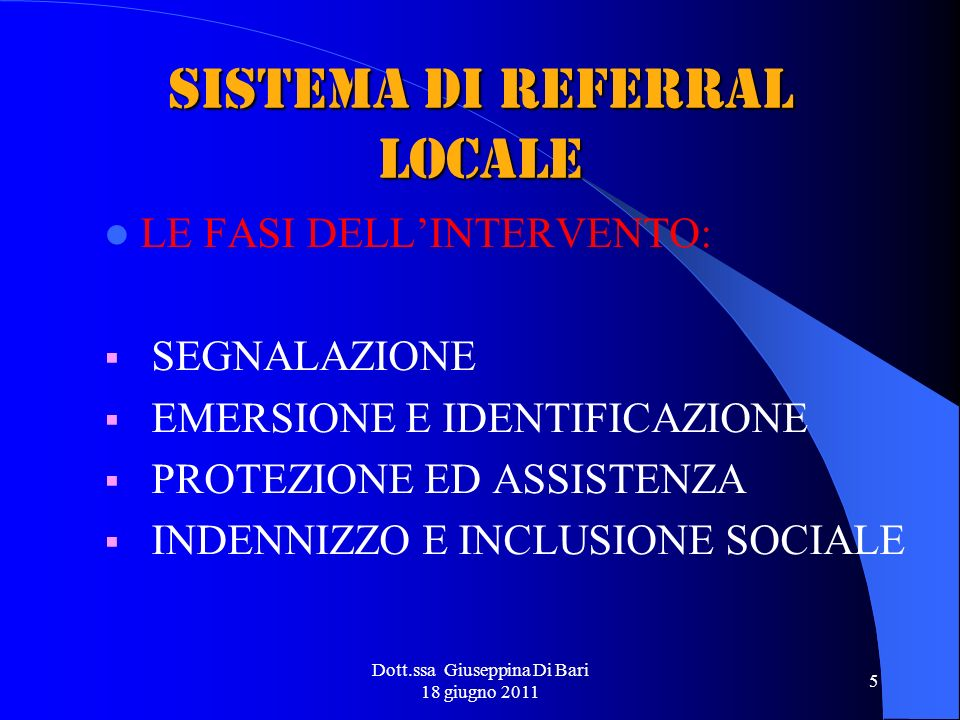 SISTEMA DI REFERRAL LOCALE