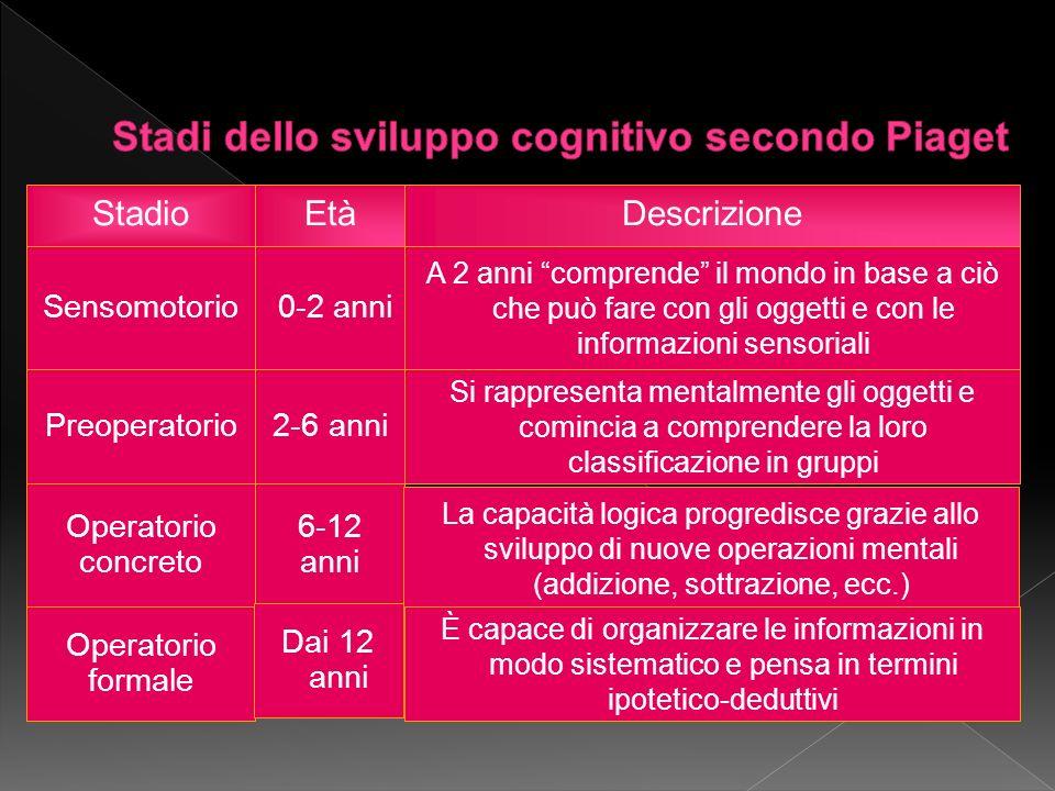 Stadi dello sviluppo cognitivo secondo Piaget