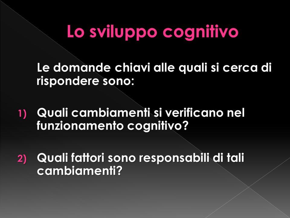 Lo sviluppo cognitivo Le domande chiavi alle quali si cerca di rispondere sono: Quali cambiamenti si verificano nel funzionamento cognitivo