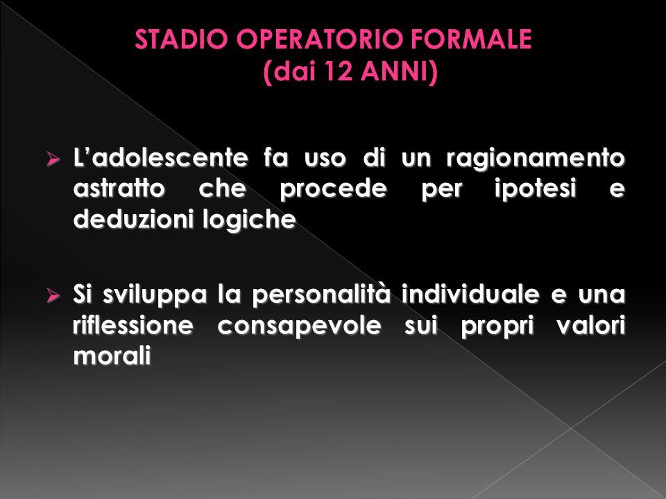 STADIO OPERATORIO FORMALE (dai 12 ANNI)