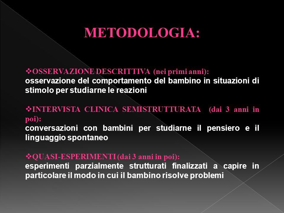 METODOLOGIA: OSSERVAZIONE DESCRITTIVA (nei primi anni):
