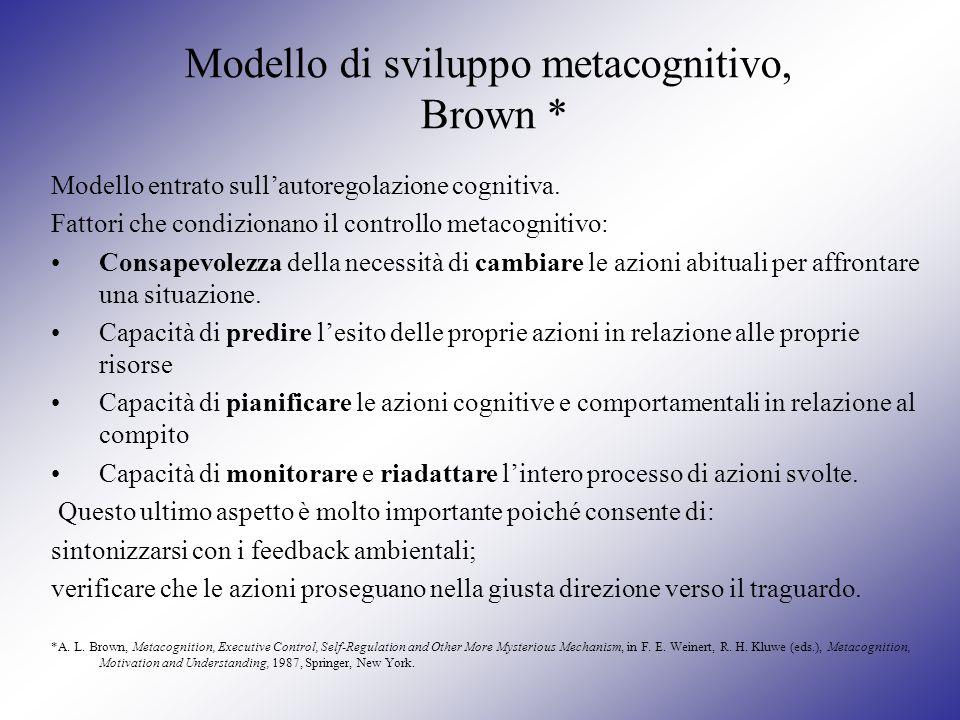 Modello di sviluppo metacognitivo, Brown *
