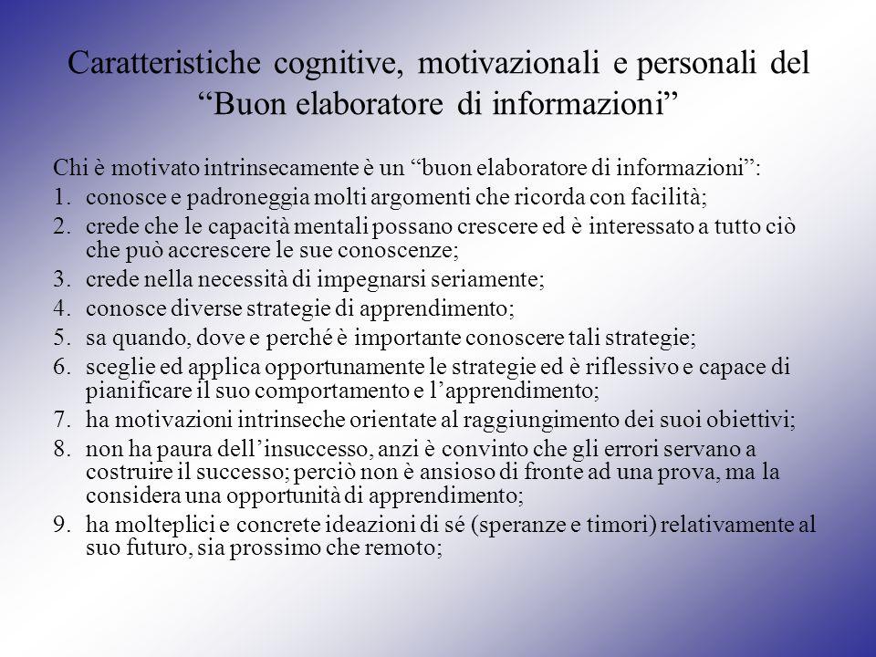 Caratteristiche cognitive, motivazionali e personali del Buon elaboratore di informazioni