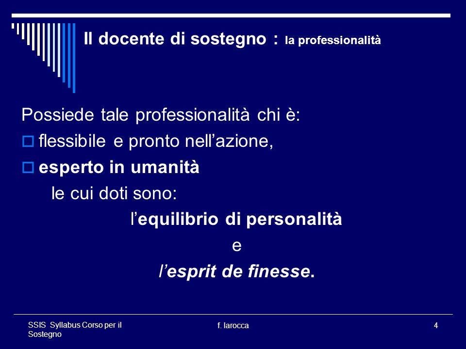 Il docente di sostegno : la professionalità