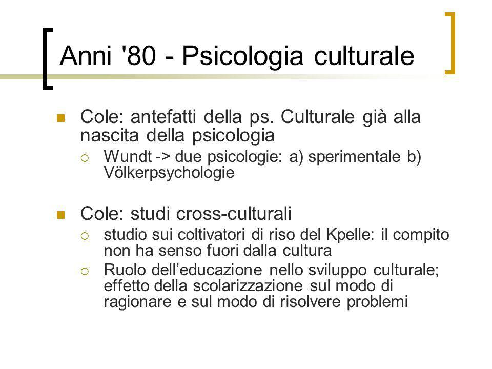 Anni 80 - Psicologia culturale
