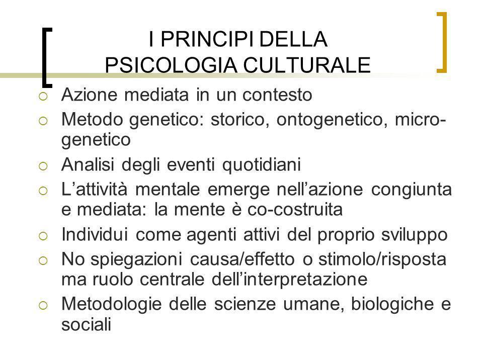 I PRINCIPI DELLA PSICOLOGIA CULTURALE