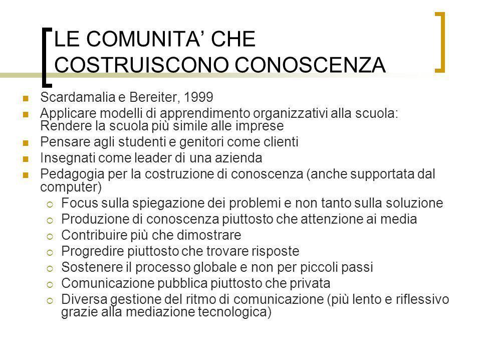LE COMUNITA' CHE COSTRUISCONO CONOSCENZA