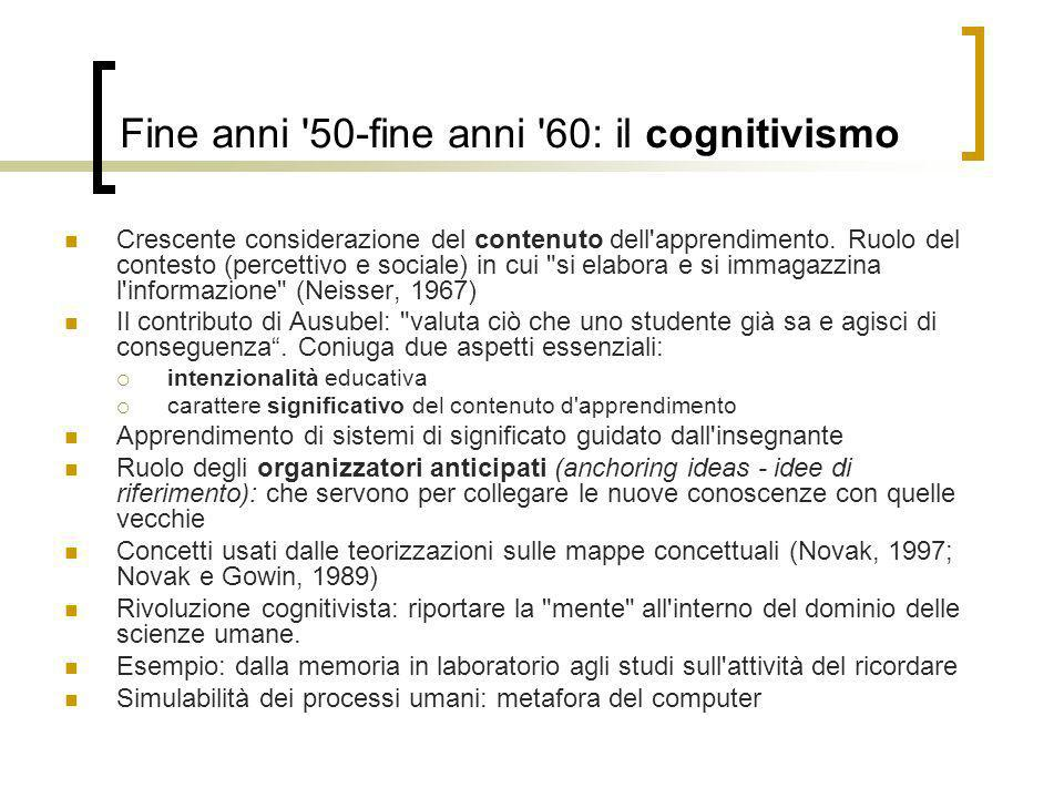 Fine anni 50-fine anni 60: il cognitivismo