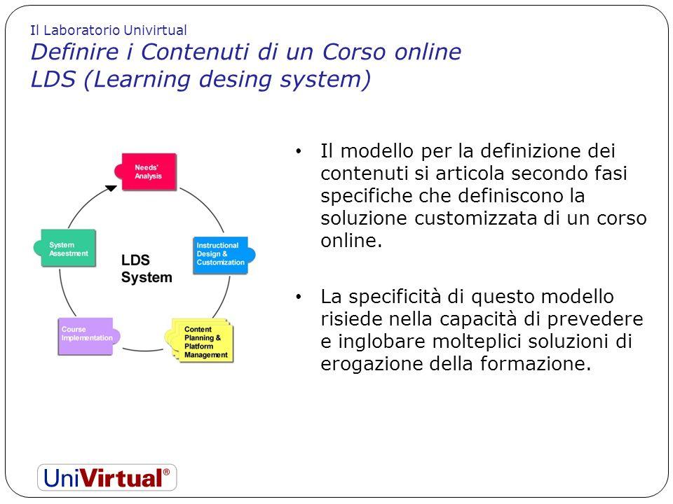 Definire i Contenuti di un Corso online LDS (Learning desing system)
