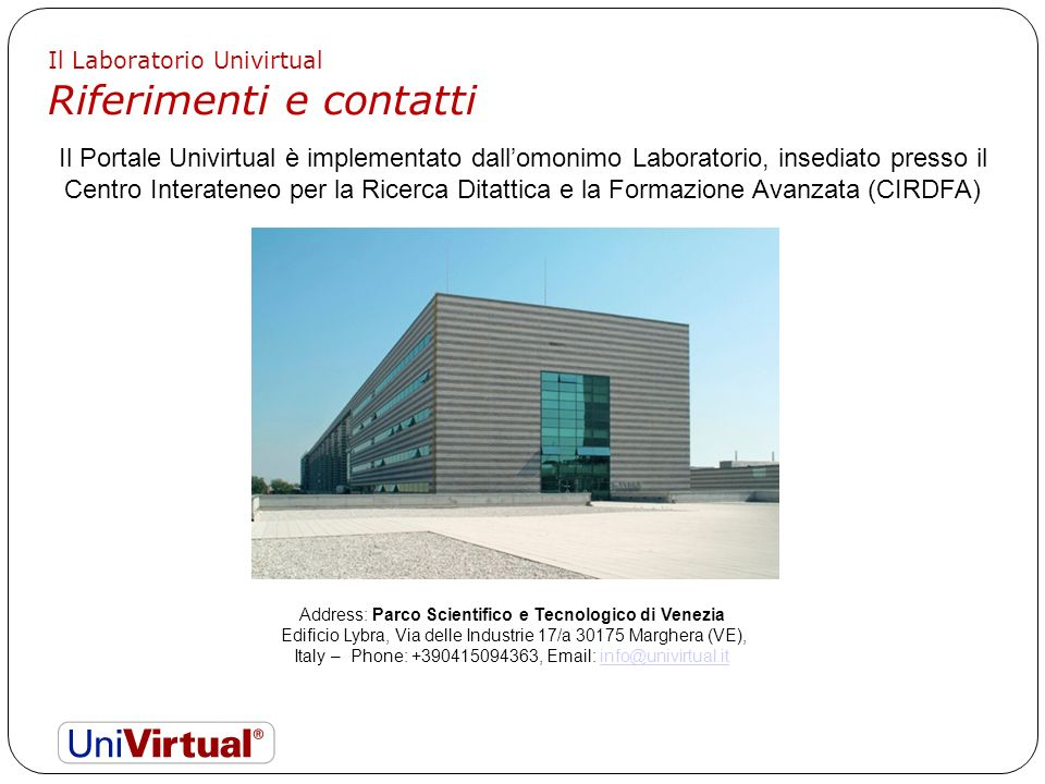 Address: Parco Scientifico e Tecnologico di Venezia