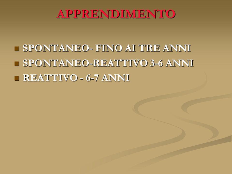 APPRENDIMENTO SPONTANEO- FINO AI TRE ANNI SPONTANEO-REATTIVO 3-6 ANNI