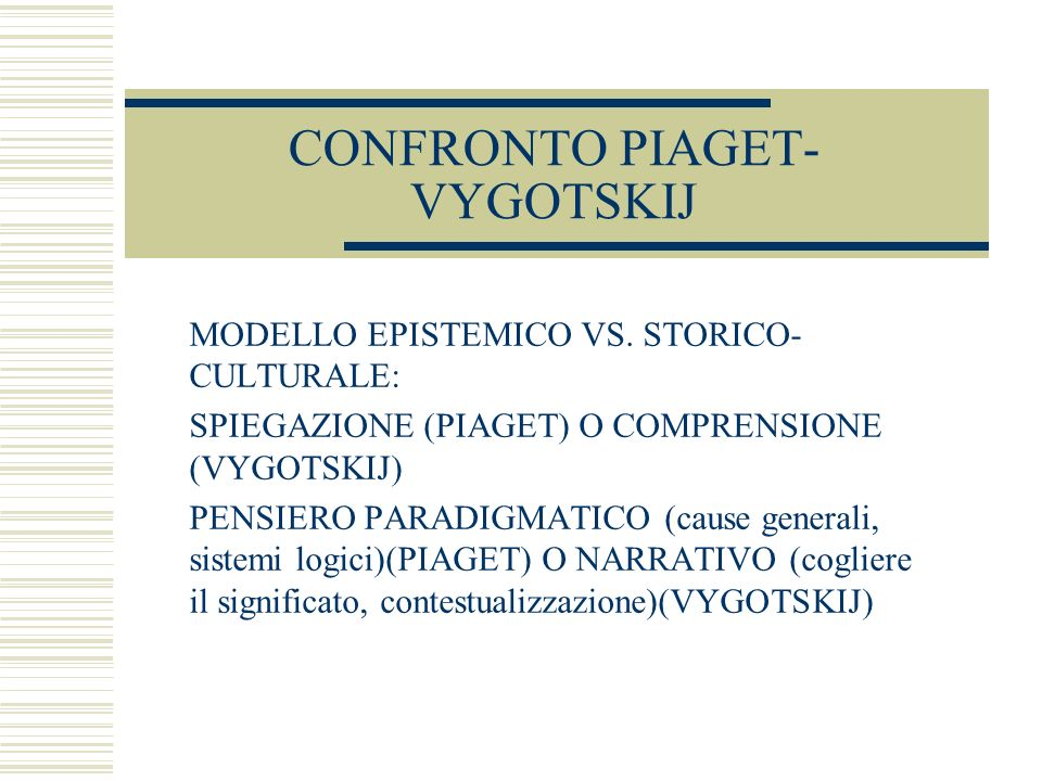 CONFRONTO PIAGET-VYGOTSKIJ