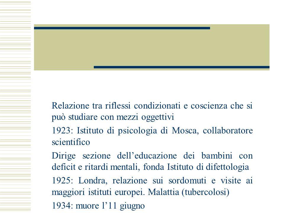 Relazione tra riflessi condizionati e coscienza che si può studiare con mezzi oggettivi