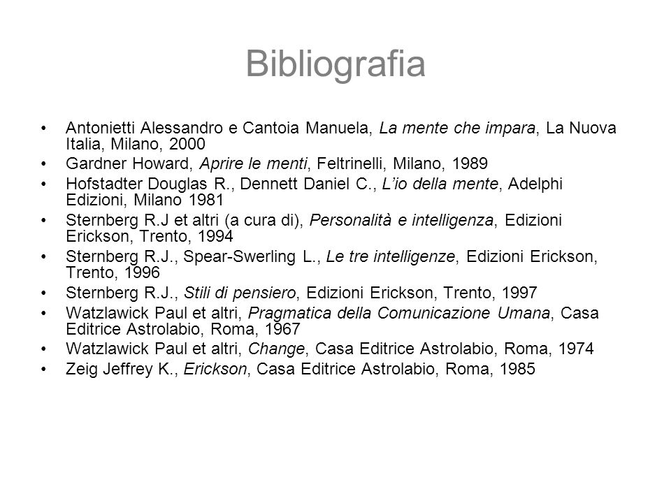 BibliografiaAntonietti Alessandro e Cantoia Manuela, La mente che impara, La Nuova Italia, Milano, 2000.