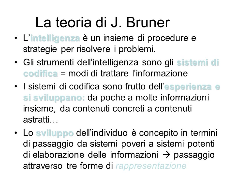 La teoria di J. BrunerL'intelligenza è un insieme di procedure e strategie per risolvere i problemi.