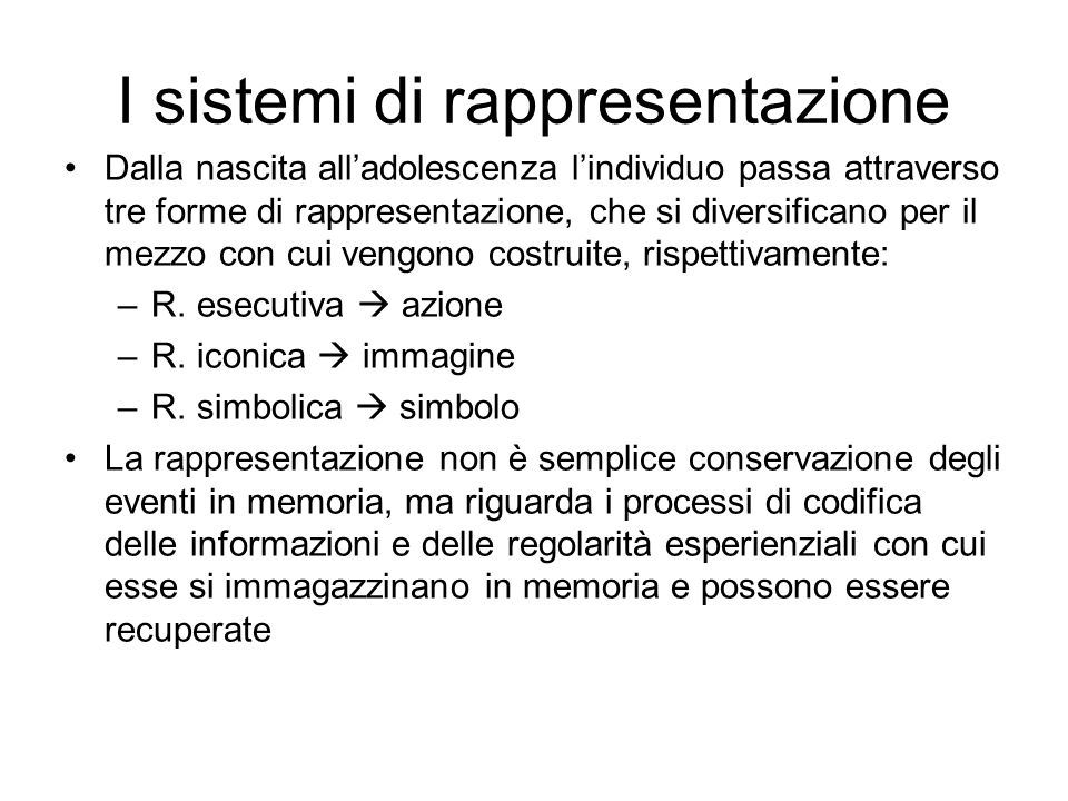 I sistemi di rappresentazione