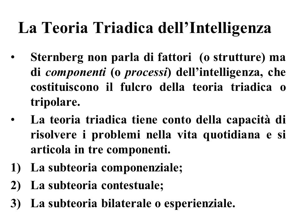 La Teoria Triadica dell'Intelligenza