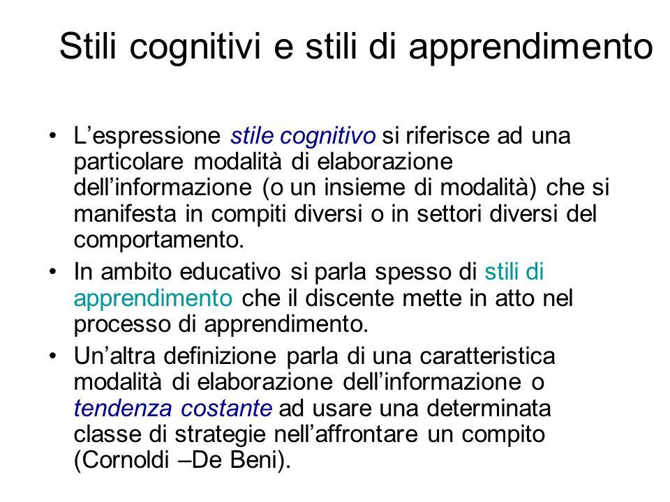 Stili cognitivi e stili di apprendimento