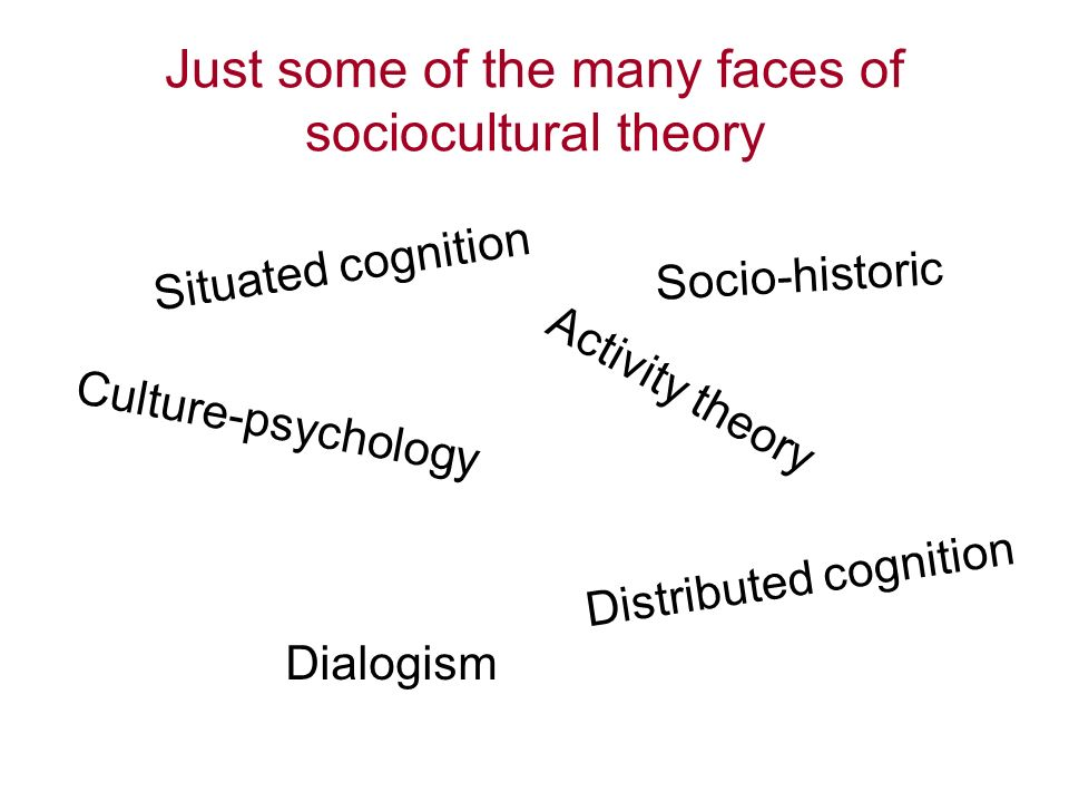 Just some of the many faces of sociocultural theory