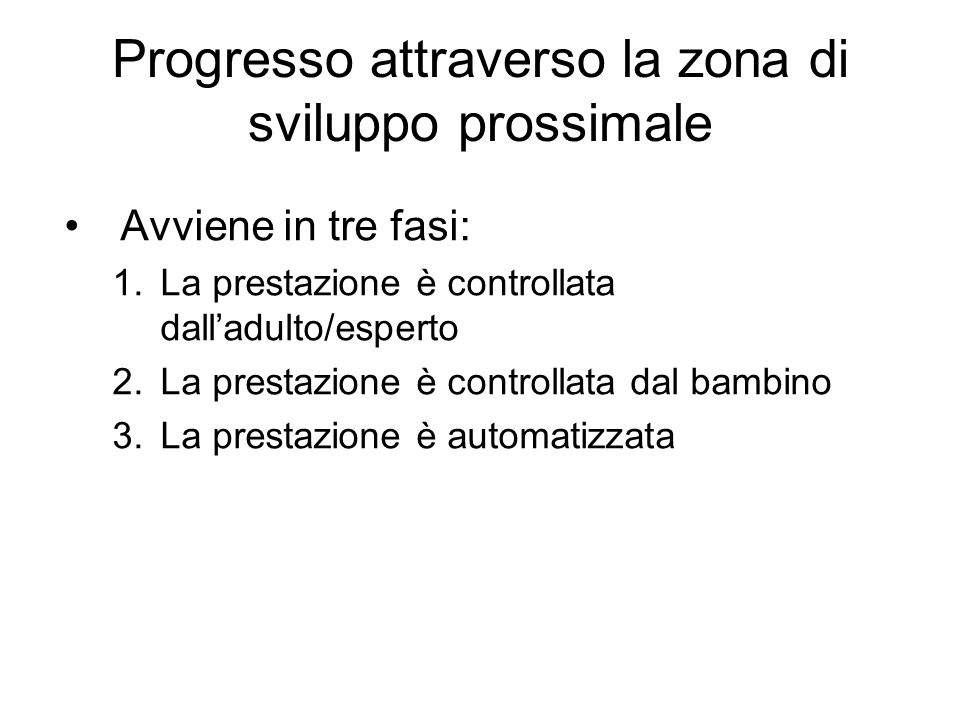 Progresso attraverso la zona di sviluppo prossimale