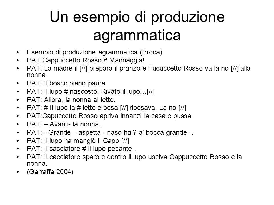 Un esempio di produzione agrammatica