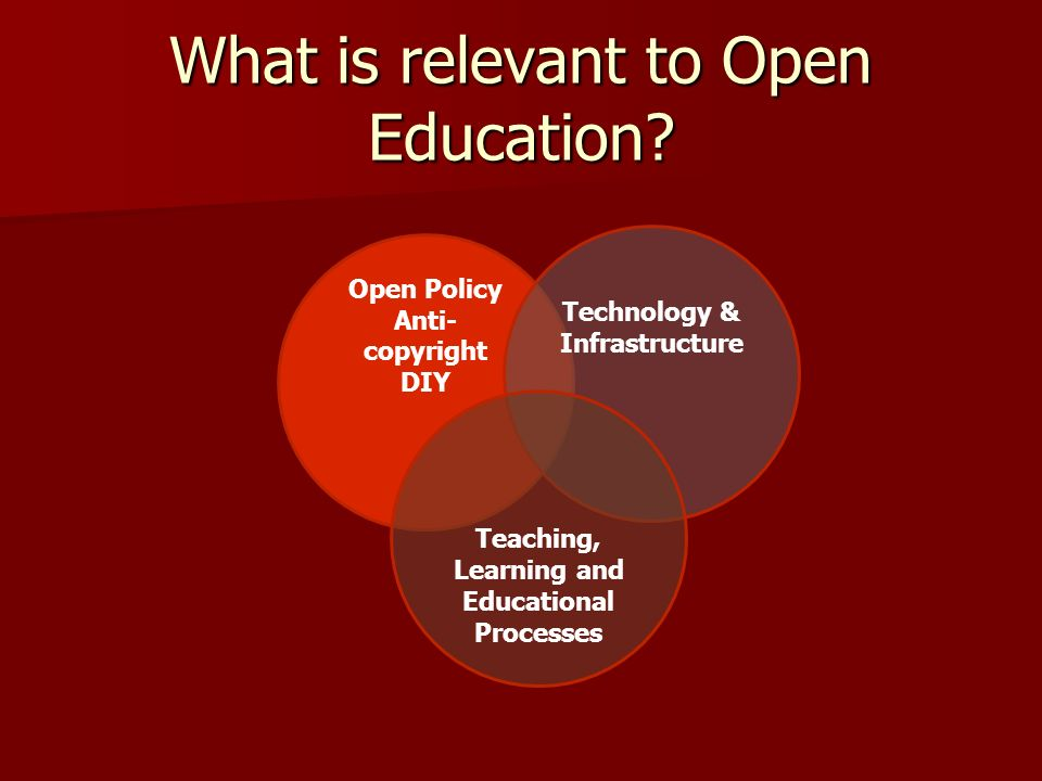 What is relevant to Open Education