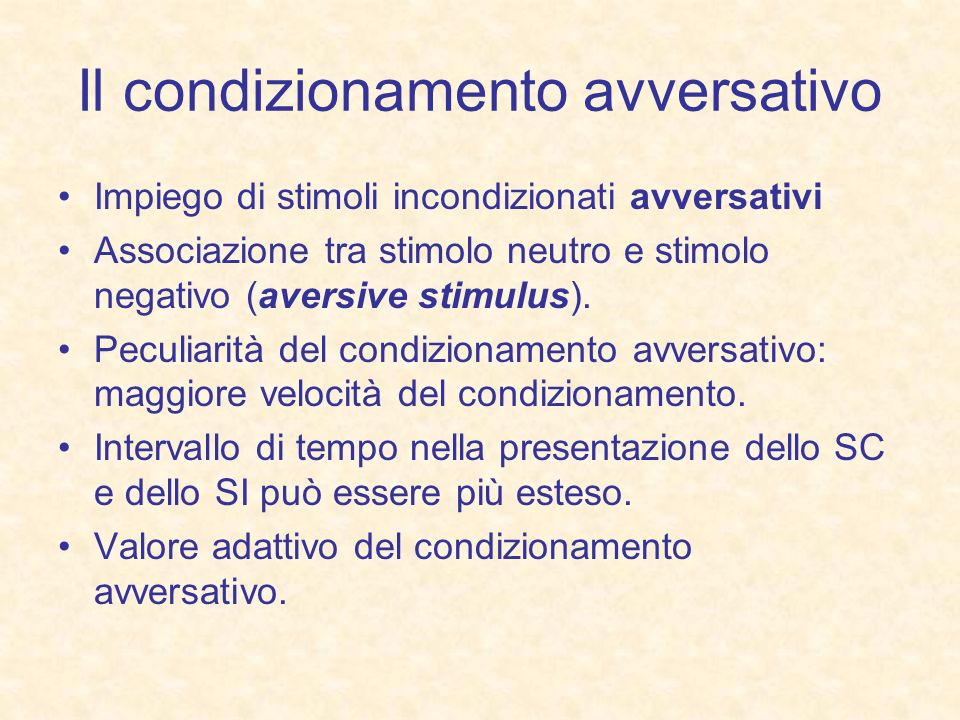 Il condizionamento avversativo