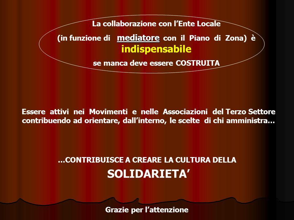 SOLIDARIETA' La collaborazione con l'Ente Locale