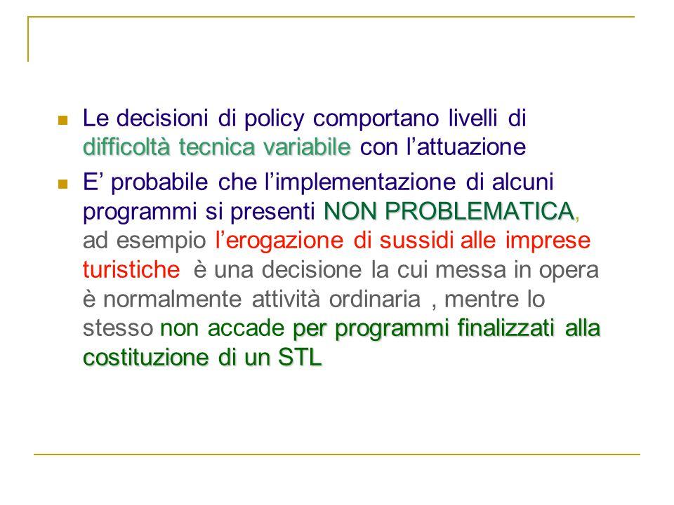 NATURA DEL PROBLEMA Le decisioni di policy comportano livelli di difficoltà tecnica variabile con l'attuazione.