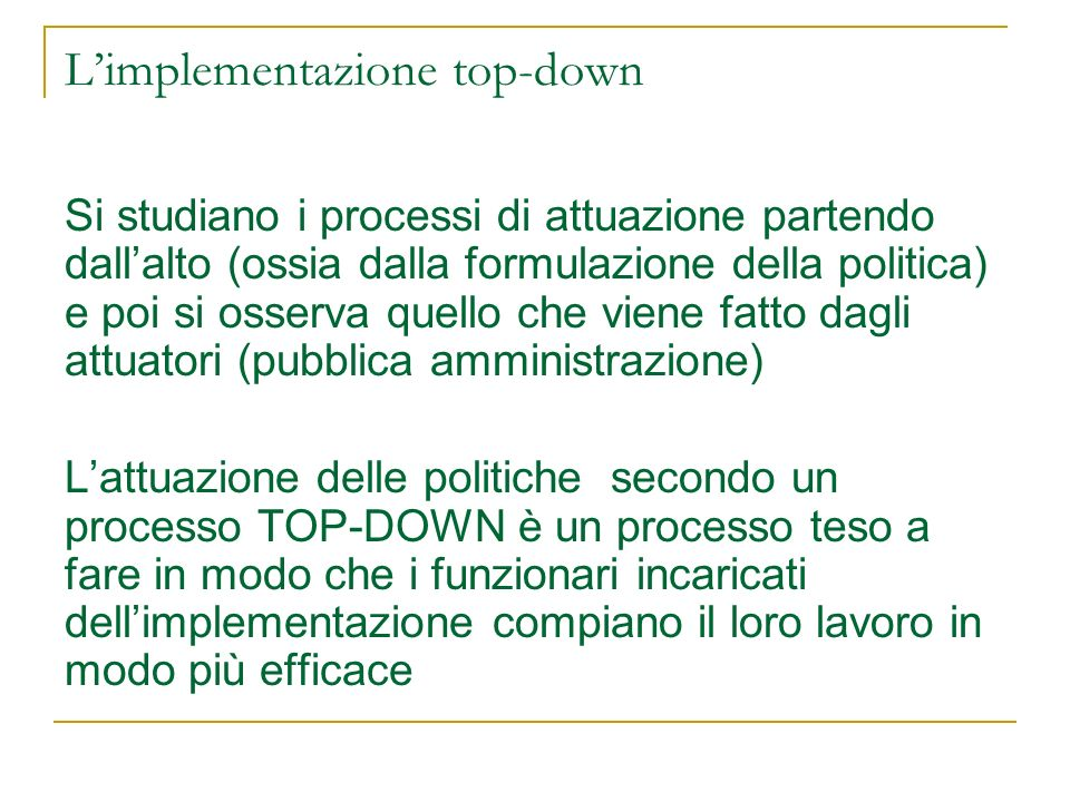 L'implementazione top-down