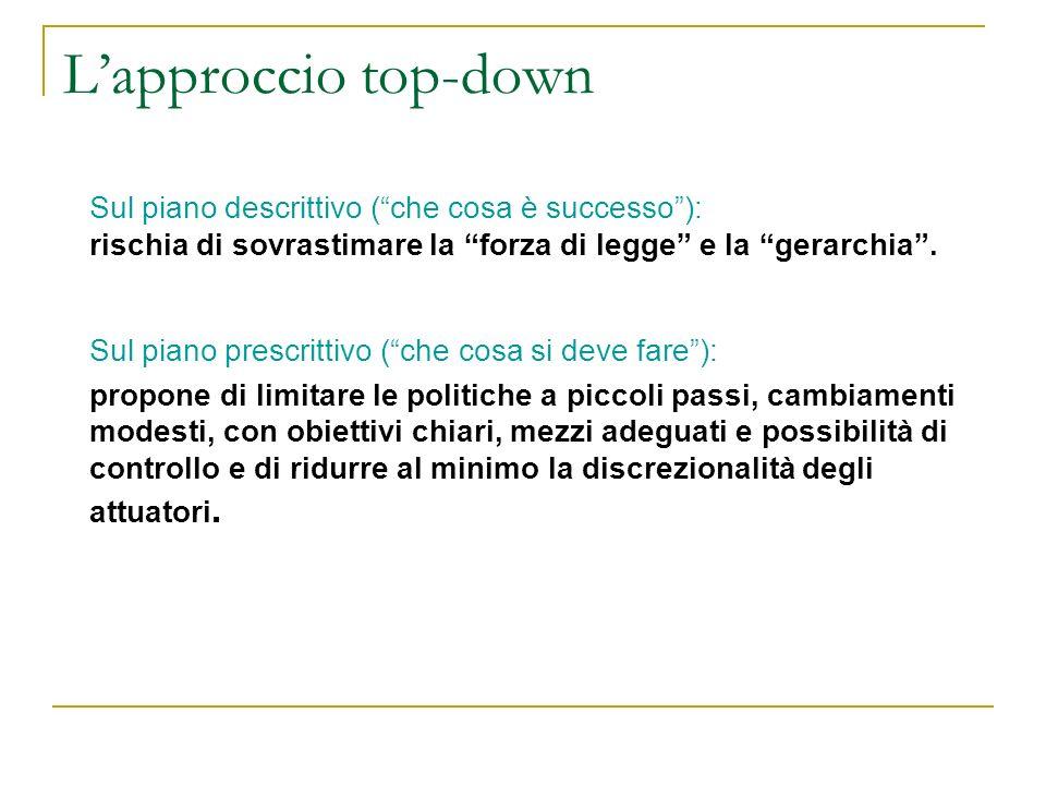 L'approccio top-down Sul piano descrittivo ( che cosa è successo ):