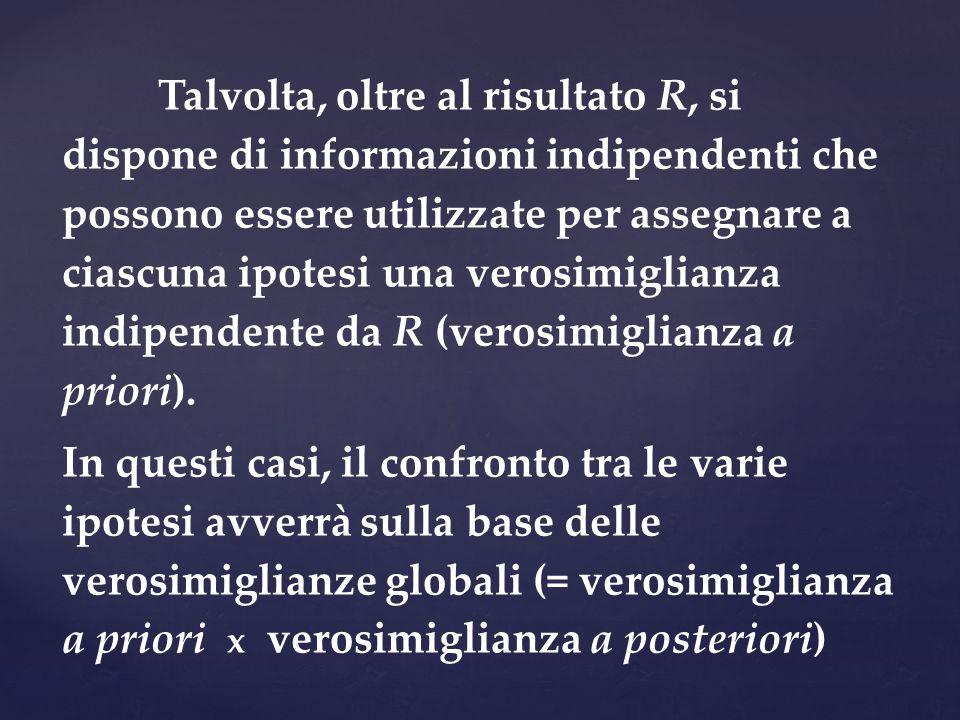 Talvolta, oltre al risultato R, si dispone di informazioni indipendenti che possono essere utilizzate per assegnare a ciascuna ipotesi una verosimiglianza indipendente da R (verosimiglianza a priori).