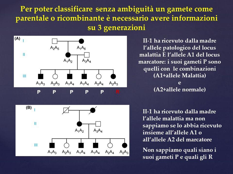 Per poter classificare senza ambiguità un gamete come parentale o ricombinante è necessario avere informazioni su 3 generazioni