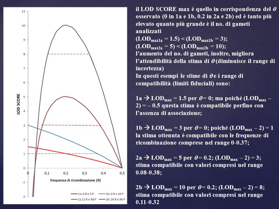 il LOD SCORE max è quello in corrispondenza del  osservato (0 in 1a e 1b, 0.2 in 2a e 2b) ed è tanto più elevato quanto più grande è il no. di gameti analizzati