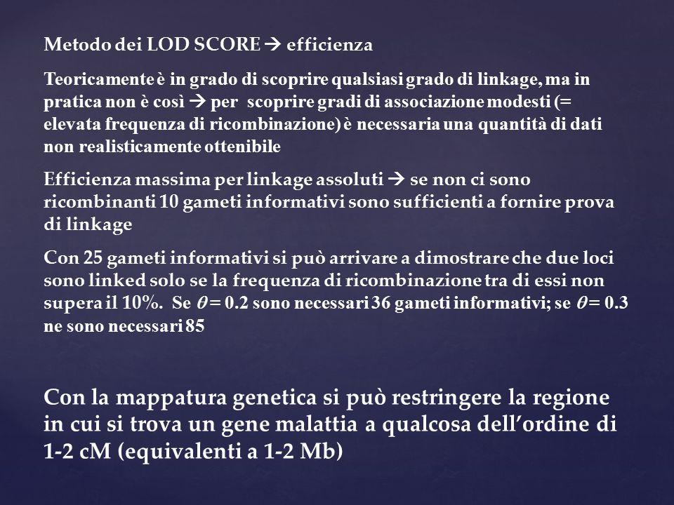 Metodo dei LOD SCORE  efficienza
