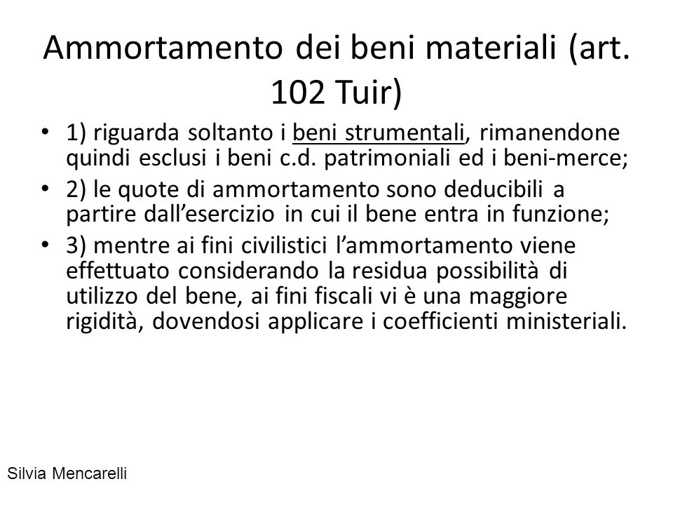 Ammortamento dei beni materiali (art. 102 Tuir)
