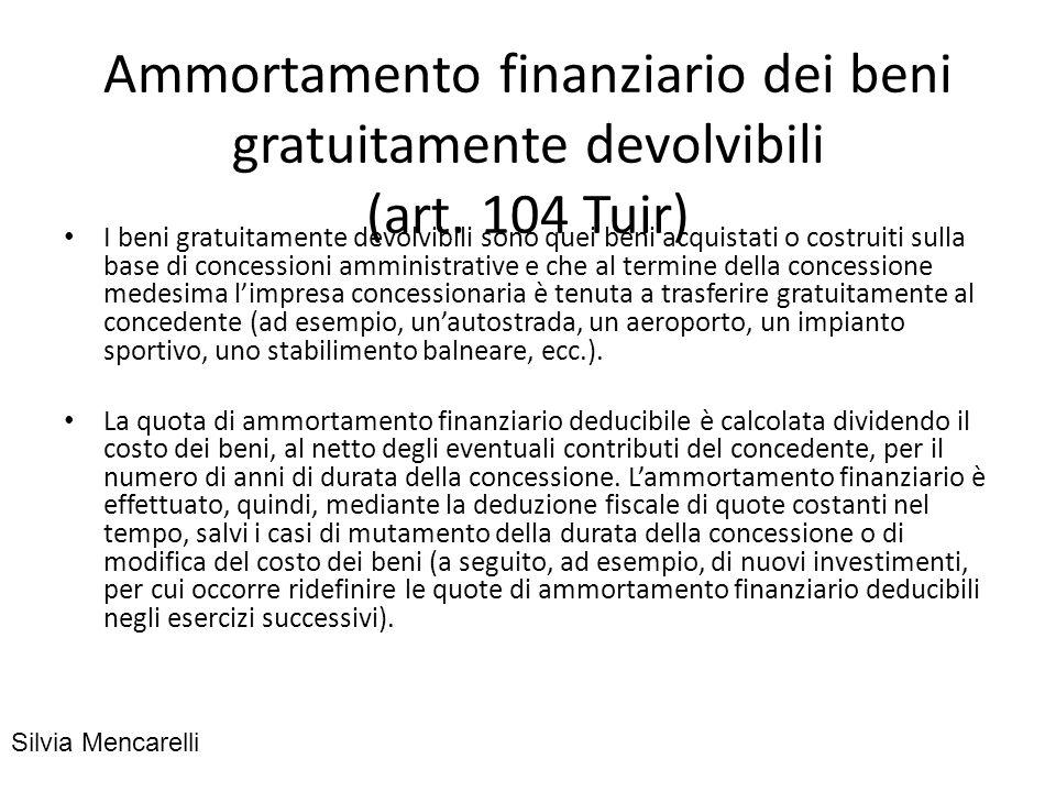 Ammortamento finanziario dei beni gratuitamente devolvibili (art