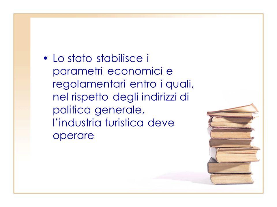 Lo stato stabilisce i parametri economici e regolamentari entro i quali, nel rispetto degli indirizzi di politica generale, l'industria turistica deve operare