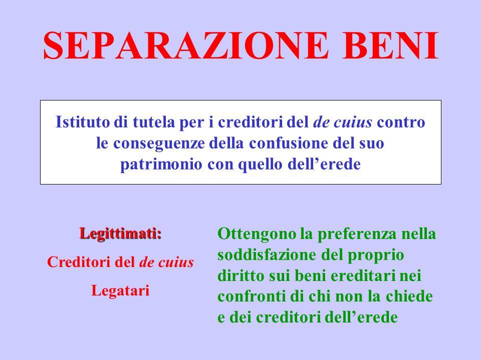 SEPARAZIONE BENI Istituto di tutela per i creditori del de cuius contro. le conseguenze della confusione del suo.