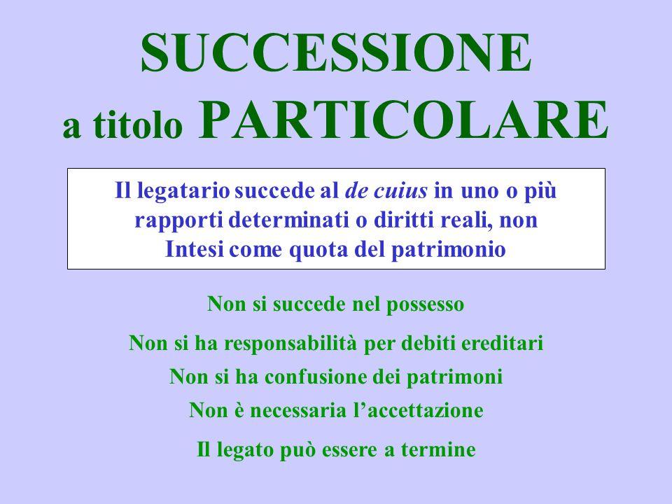 SUCCESSIONE a titolo PARTICOLARE