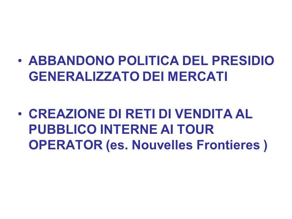 ABBANDONO POLITICA DEL PRESIDIO GENERALIZZATO DEI MERCATI